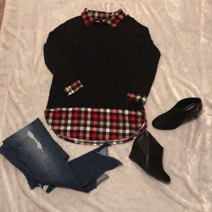 Auditions small plaid details black sheer Small